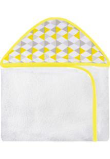 Toalha De Banho C/ Capuz Estampado Laura Baby Losango Amarelo