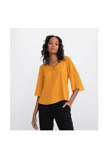 Blusa Decote V Com Cordão Para Amarração Com Ponteiras | Cortelle | Amarelo | P