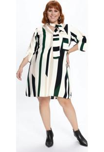 Vestido Plus Size Listrado Com Amarração Na Gola