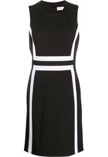 Calvin Klein Vestido Midi Com Recortes Contrastantes - Preto