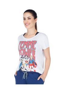 Camiseta Liga Da Justiça Mulher-Maravilha Femme Power - Feminina - Branco