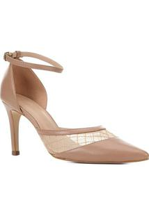 Scarpin Couro Shoestock Tela Bordada Feminina - Feminino-Nude
