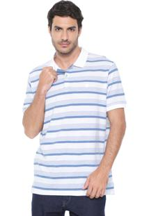 Camisa Polo Richards Reta Listrada River Branca/Azul