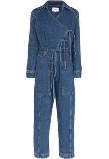 Nanushka Macacão Jeans Naki Com Transpasse - Azul