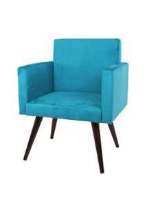 Poltrona Decorativa Pés Palito Tabaco Nina Suede Azul - Ds Móveis