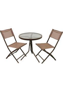 Conjunto De Jardim Com Mesa E 2 Cadeiras Marrom