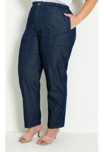 Calça Comfort Jeans Com Bolsos Plus Size