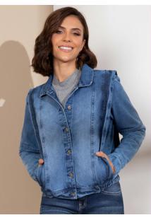 Jaqueta Jeans Com Recortes Laterais