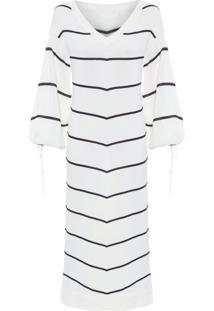Vestido Tricô Listrado - Off White