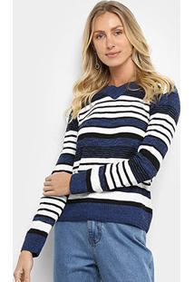 Suéter Tricô Fast Glam Básico Listrado Feminino - Feminino-Azul+Preto