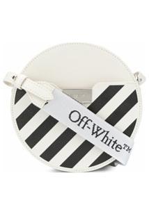 Off-White Bolsa Transversal Com Listras Diagonais - Branco