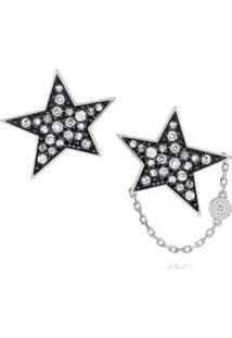 Brinco Pave Estrela Branco C/Diamante Ttlb E Branco