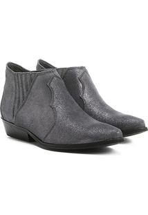 Bota Couro Chelsea Shoestock Cano Curto Feminina - Feminino-Cinza