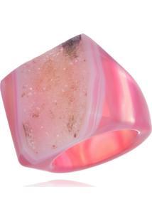 Anel Le Diamond Pedra Natural Bruta Rosa