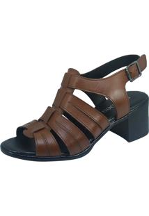 Sandália S2 Shoes Salto Couro Tabaco