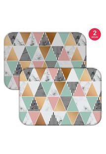 Jogo Americano Love Decor Marble Triangle Colorido