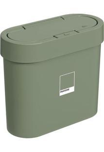 Lixeira Flat Com Tampa- Verde Pantone®- 2,8L- Brbrinox