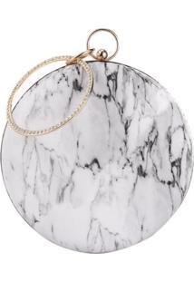 Bolsa Clutch Liage Festa Redonda Efeito Pedra Marmore Cristal Strass Metal Alça Alcinha Dourada Branca