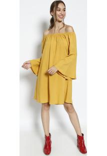 Vestido Ciganinha Com Recortes Amarelo Escuro Blbless