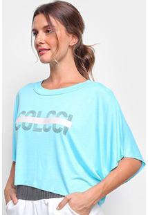 Camiseta Colcci Cropped Logo Linha Feminina - Feminino-Azul Petróleo