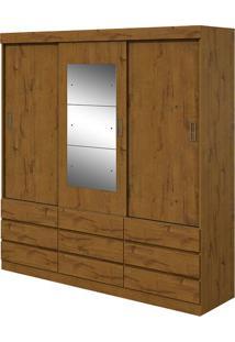 Guarda Roupa Hércules Plus 3 Portas Com Espelho Rovere Naturale