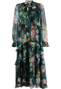 Zimmermann Dephene Floral-Print Chiffon Dress - Verde