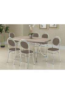 Mesa 1507 Nogueira Cromada Com 6 Cadeiras 190 Camurça Conhaque Carraro
