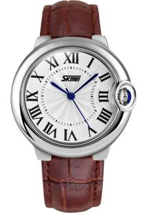 Relógio Skmei Analógico 9088 - Marrom E Prata