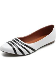 Sapatilha Dafiti Shoes Bico Fino Branca - Branco - Feminino - Sintã©Tico - Dafiti