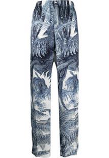 F.R.S For Restless Sleepers Calça Cintura Alta Com Estampa De Selva - Azul