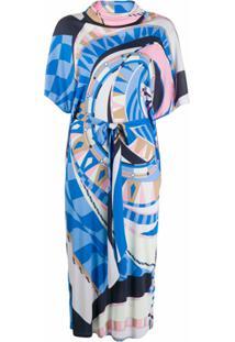 Emilio Pucci Vestido Decote Com Volume E Estampa Abstrata - Azul