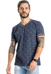 Camiseta Com Micro Estampa Azul Bgo