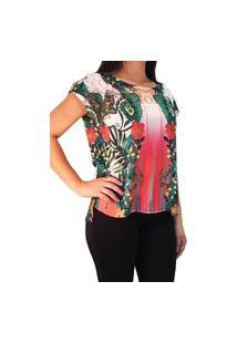 Blusa 101 Resort Wear Mangas Curtas Estampada Multicolorido