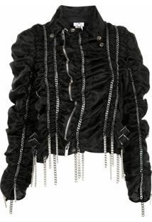 Comme Des Garçons Noir Kei Ninomiya Draped Chain Asymmetric Jacket - Preto