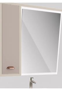 Espelheira Banheiro 80Cm Inclinada Nude E Taupe Liliesmóveis