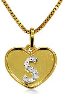 Pingente Em Ouro 18K Coração Com Letra S Com 5 Diamantes - Pg20111