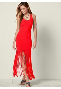 Vestido Longo Com Franja Vermelho