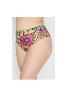Calcinha Banho De Mar Moda Praia Hot Pant Floral Preta/Amarela