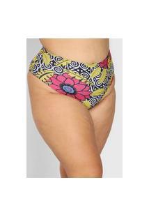 Calcinha Banho De Mar Moda Praia Hot Pant Floral Preta/Rosa