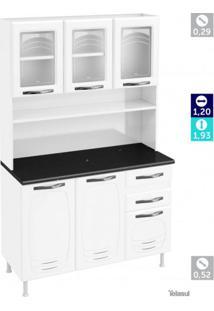 Armário Para Cozinha 6 Portas 2 Gavetas Pérola Telasul Branco