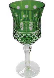 Conjunto De Taças Para Vinho Em Vidro Cristalino Lapidado 6 Peças Verde