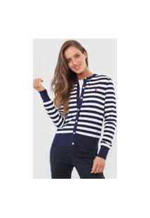 Cardigan Tricot Polo Ralph Lauren Listrado Branco/Azul-Marinho