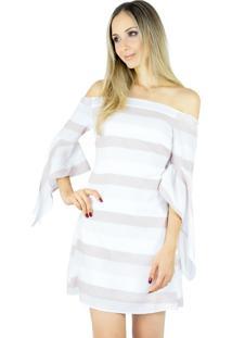 Vestido Liage Curto Listrado Ombro A Ombro Manga Branco Off-White Bege Nude