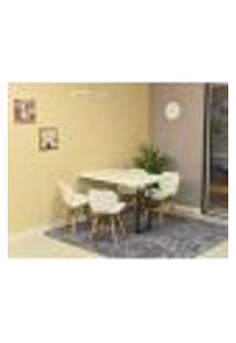 Conjunto De Mesa Dobrável Retrátil 120 X 75 Branca + 4 Cadeiras Slim - Branca