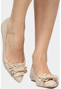 Sapatilha Couro Shoestock Babados Feminina - Feminino-Off White