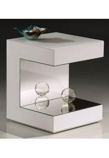 Mesa Lateral Apple Laca Branco Brilho Com Espelho - 22550 - Sun House