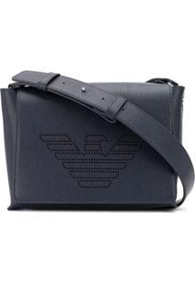 Emporio Armani Perforated Logo Crossbody Bag - Azul