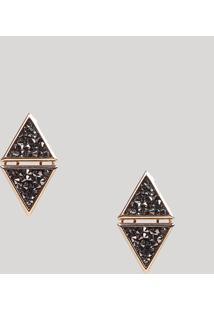 Brinco Feminino Geométrico Com Triângulos E Strass Dourado - Único