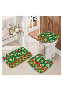 Jogo Tapetes Para Banheiro Retro Presentes Verde Único