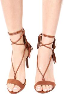 Sandália Dafiti Shoes Franja Tassel Caramelo